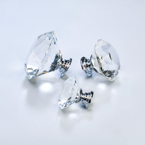 Clear Faceted Crystal Glass Cupboard Door Knobs