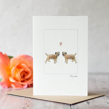 Border Terrier Dogs In Love Card