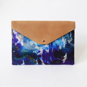 Modern Blue Envelope Clutch Bag