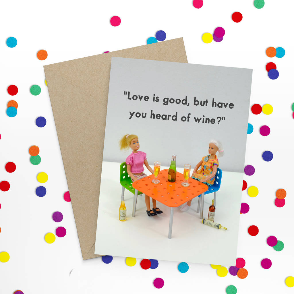 Love And Wine Funny Card