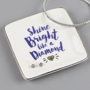 'Shine Bright Like A Diamond' Ceramic Ring Dish - jewellery storage & trinket boxes