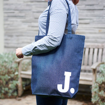 Personalised Initial Denim Tote Bag