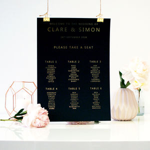 Black And Gold Wedding Seating Plan Table Plan