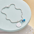 Silver Bracelet With Birthstone And Initial - Sapphire, Turquoise and Aquamarine