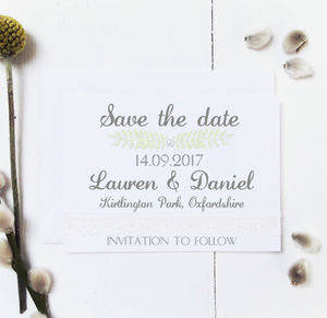 Grecian Pastels Wedding Save The Date Card