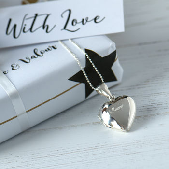 Personalised Sterling Silver Heart Locket On Ball Chain