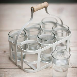 Glass Carrier With Vintage Etched Glasses - tumblers & Hiballs
