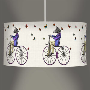 Zebra On Bicycle Lampshade - children's lighting