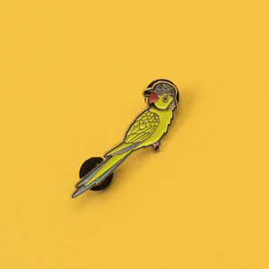 Parakeet In A Baseball Cap Enamel Pin Badge