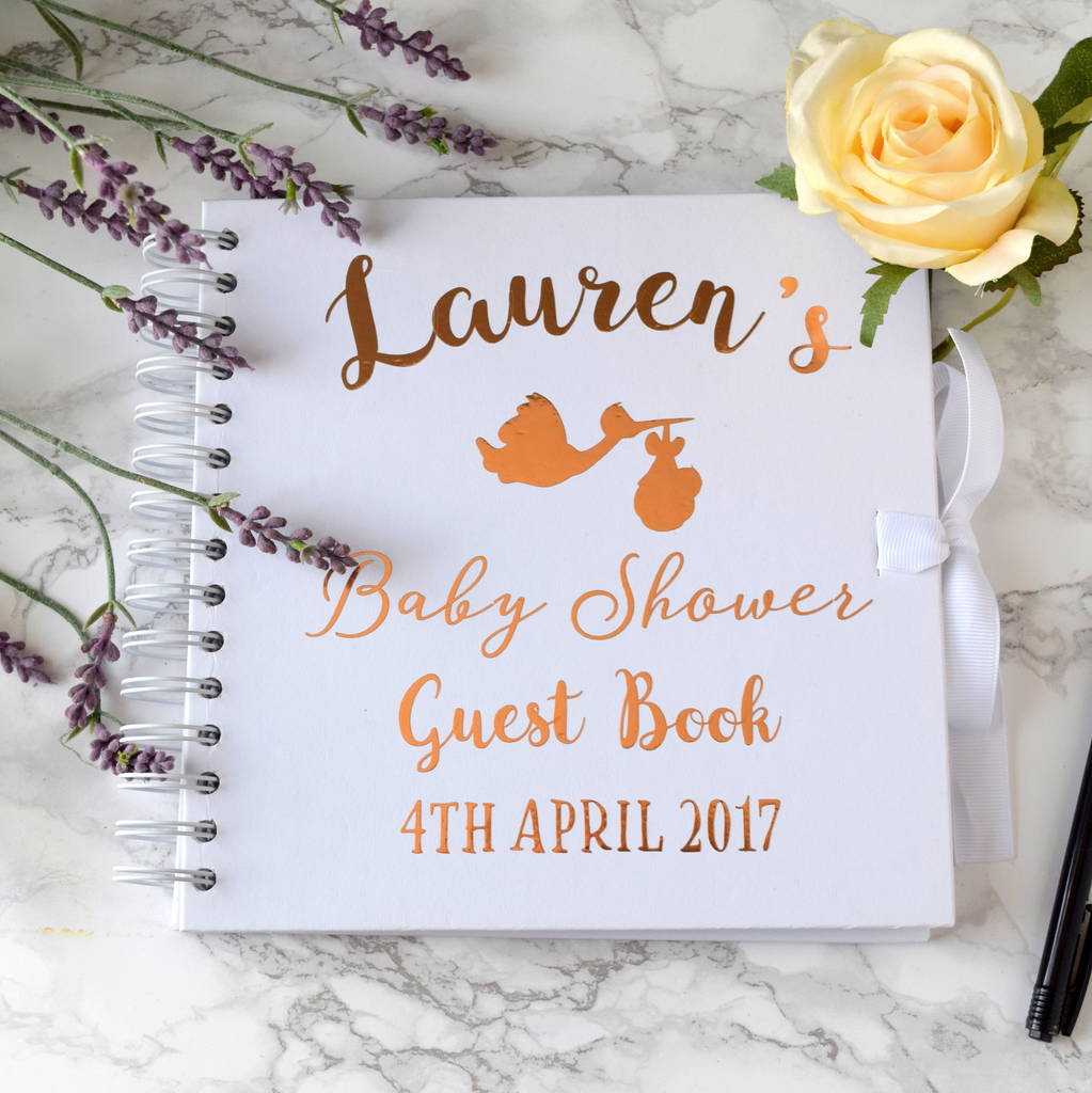 Great Personalised Gold Baby Shower Guest Book