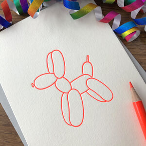 'Balloon Dog' Letterpress Card