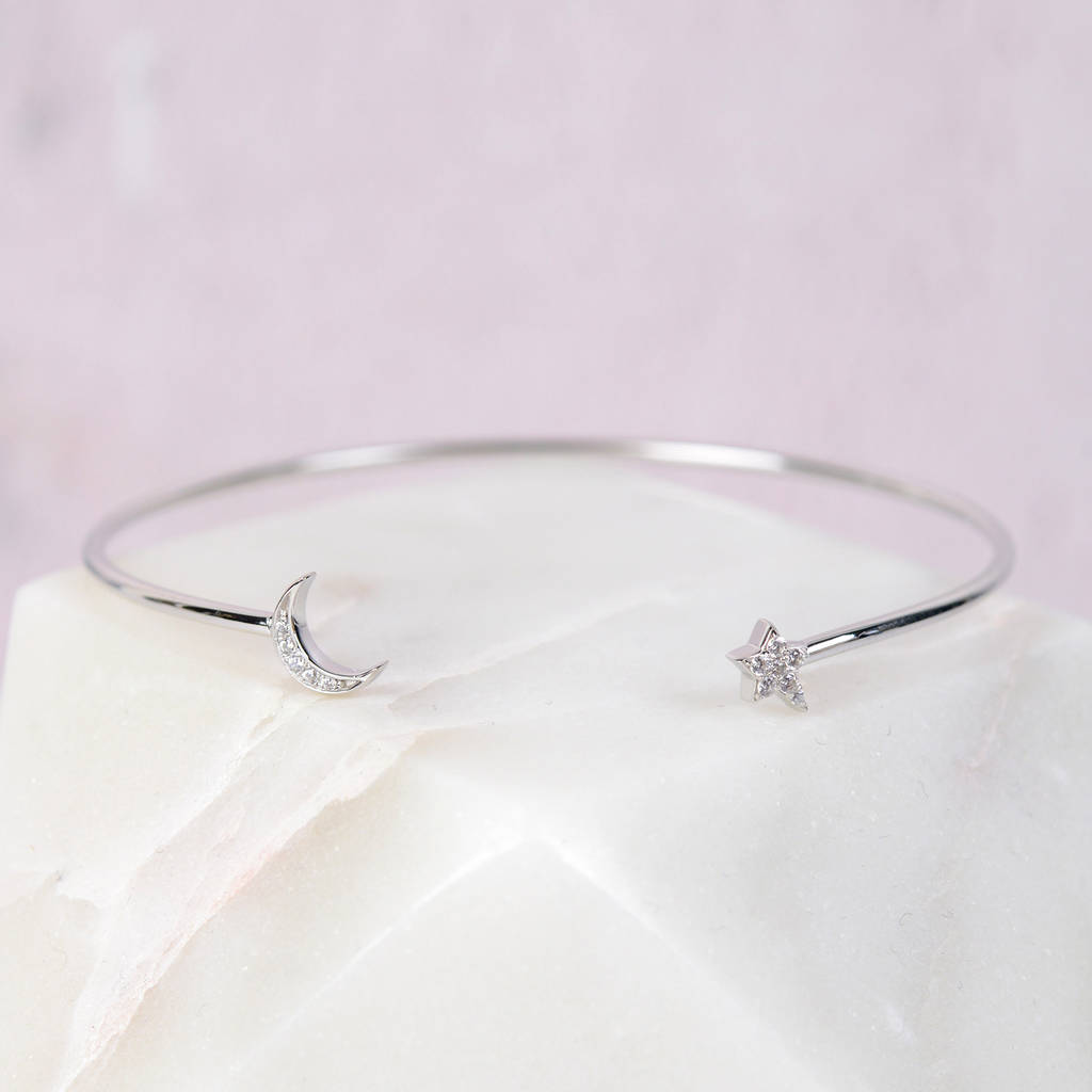 Sterling Silver Diamantè Moon And Star Bangle