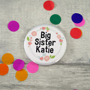 Personalised Big Sister Badge - personalised