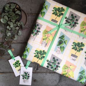 House Plant Gift Wrapping Paper Set