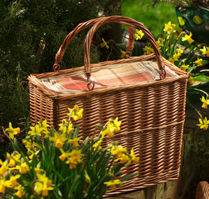 Personalised Amber Tartan Rectangular Chiller Basket - picnic hampers & baskets