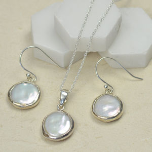 Coin Pearl In Silver Surround Pendant Necklace - necklaces & pendants
