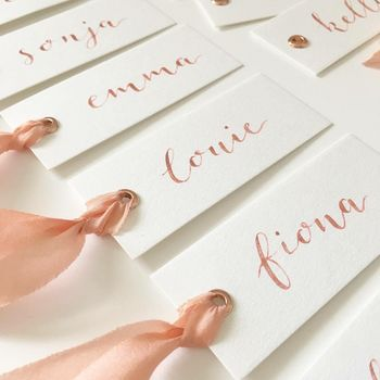 Luxury White And Rose Gold Wedding Place Tags