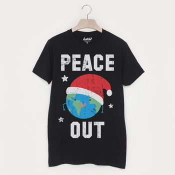 Peace Out Men's Festive Christmas T Shirt
