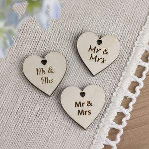 Wooden 'Mr And Mrs' Wedding Favour Hearts - wedding favours