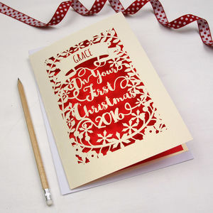 Personalised 'First Christmas' Papercut Card - personalised