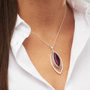 Murano Glass & Silver Hammered Elipse Pendant - Plum by Claudette Worters