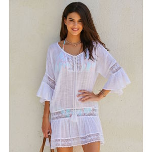Maui Cotton Beach Kaftan White - dresses