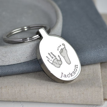 Handprint And Footprint Stainless Steel Keyring