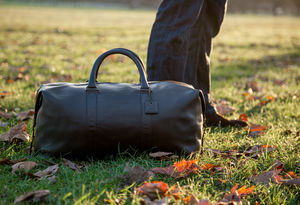 Real Leather Holdall Duffle Bag - mens