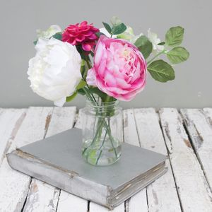 White And Pink Peony Bouquet In Vase - room decorations