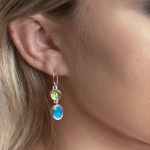 Apatite And Peridot Gemstone Handmade Silver Earrings - earrings