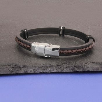 Personalised Initials Rubber And Leather Bracelet