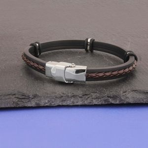Personalised Initials Rubber And Leather Bracelet - bracelets