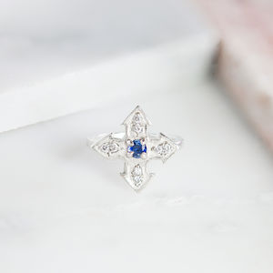 Sapphire And Diamond Cross Ring - rings