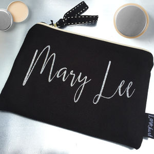 Personalised Caleigh Font Clutch Style Make Up Bag - wash & toiletry bags
