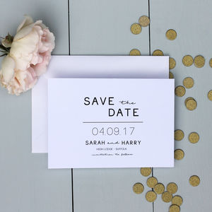 Modern Monochrome Save The Date Card - table plans