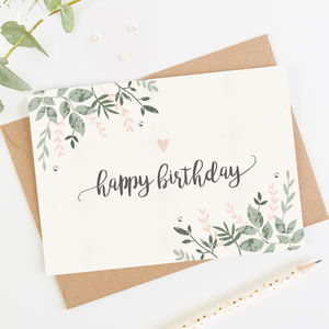 Happy Birthday Card Botanical Blush By Normadorothy