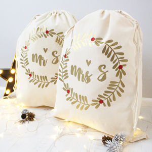 Mr And Mrs Personalised Sacks
