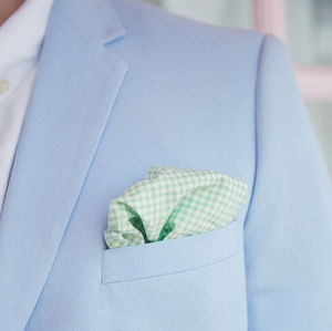 Mens Mint Green Gingham Pocket Square