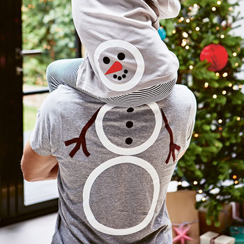Piggy Back Snowman T Shirt Set
