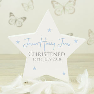 Personalised White Wooden Christening Star