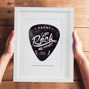 Personalised 'You Rock My World' Guitar Pick Print - music fans