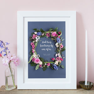 Personalised Floral Frame Wedding Print - best wedding gifts