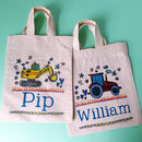 My First Personalised Bag - Digger + Tractor design