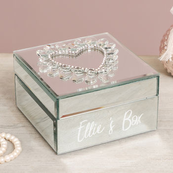 Personalised Bejewelled Mirror Jewellery Box