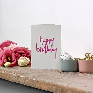 'Happy Birthday' Script Small Letterpress Card