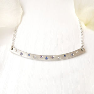 Skinny Silver Bar Necklace With Sapphires - necklaces & pendants
