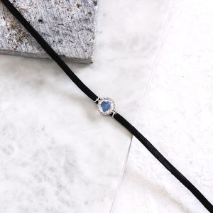 Freya Moonstone Leather Choker - necklaces & pendants