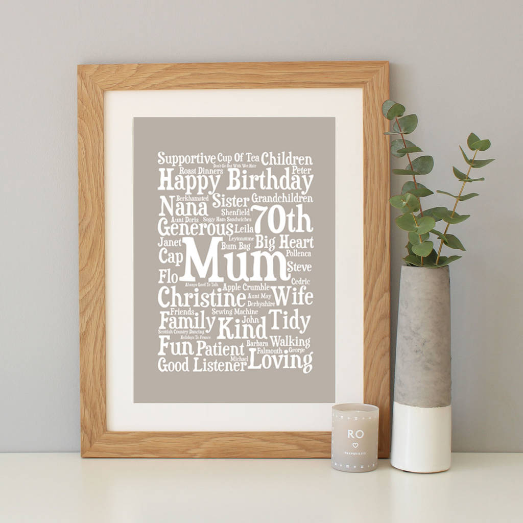 Personalised 70th birthday word art gift by hope and love mushroom background with a4 oak frame negle Images