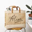 Personalised Name Jute Shopper Bag