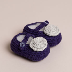 Hand Crochet Purple Baby Shoes